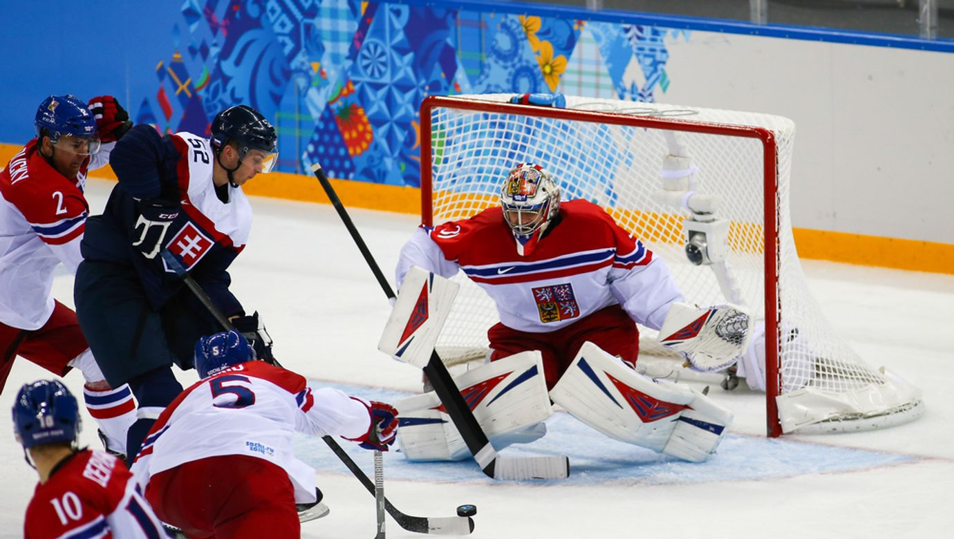 Sochi,,Russia,-,February,18,,2014:,Ondrej,Pavelec,(cze),On