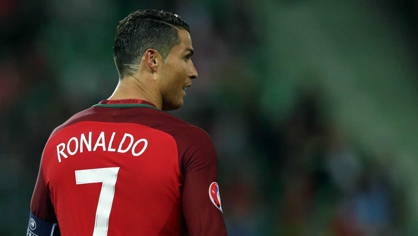 Saint,Etienne-,France,june,2016:cristiano,Ronaldo,In,Action,During,Football,Match