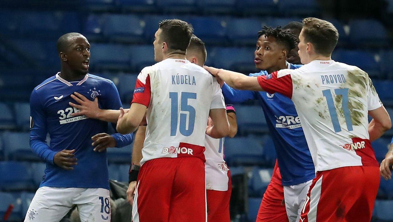 File photo dated 18-03-2021 of Rangers' Glen Kamara (left) argues with Slavia Prague's Ondrej Kudela. Issue date: Monday March 22, 2021.