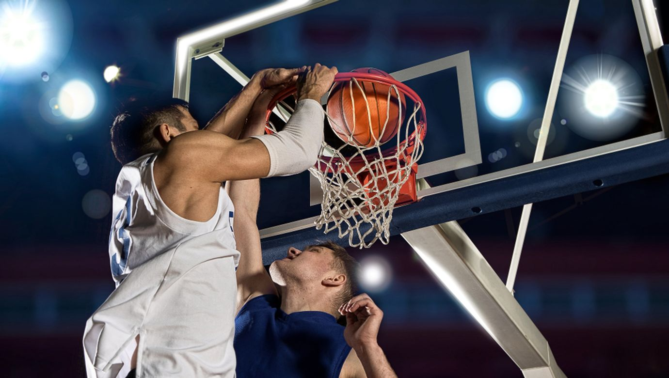 Two,Basketball,Players,In,Action,In,Gym