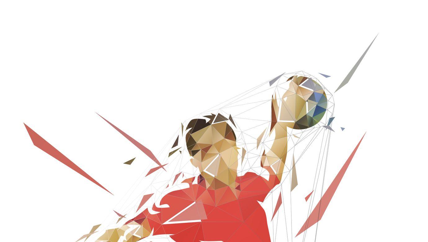 Handball,Player,Throwing,Ball,And,Scoring,Goal,,Low,Polygonal,Isolated