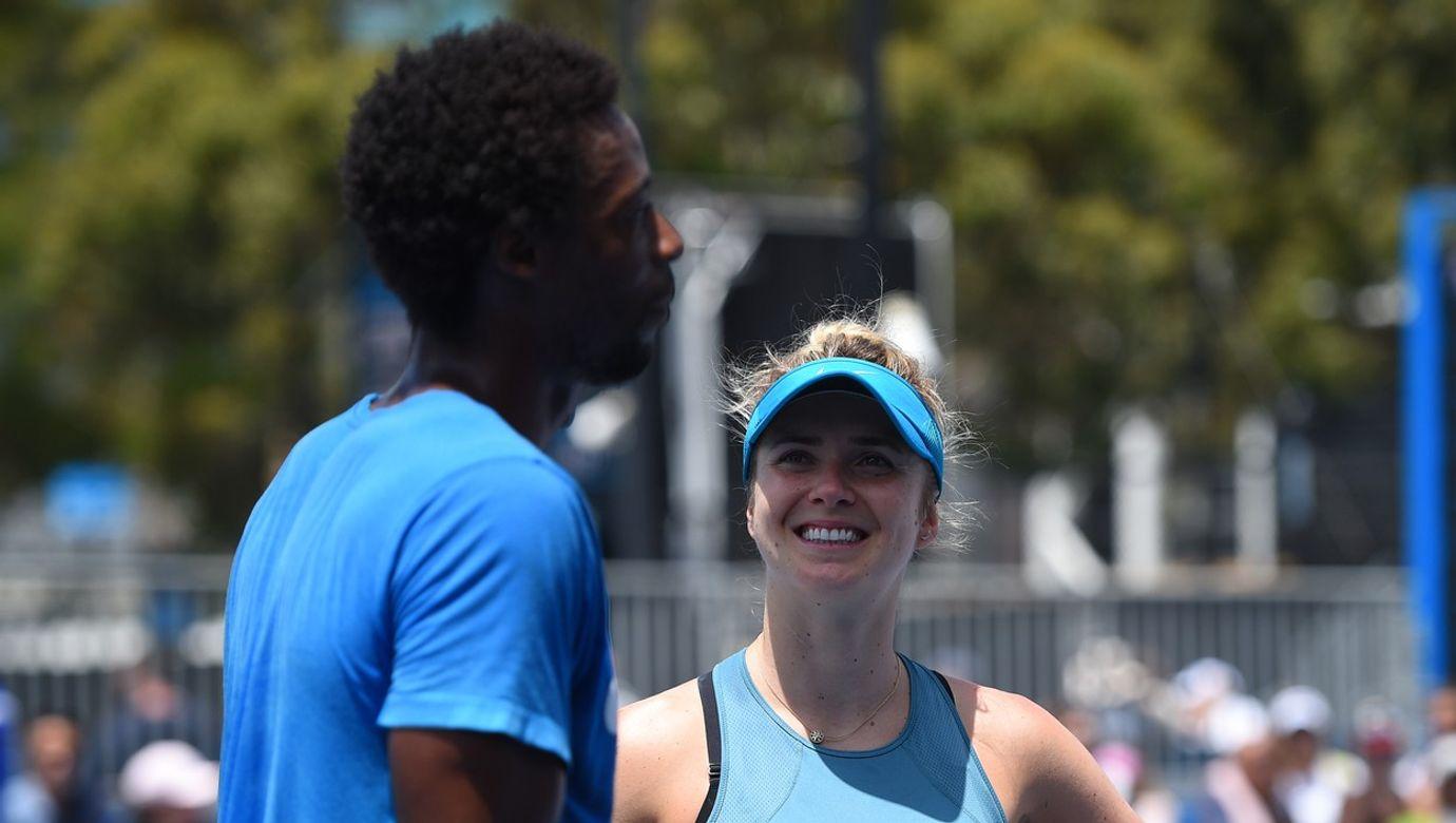 Australian Open - Gael Monfils with girlfriend Elina Svitolina