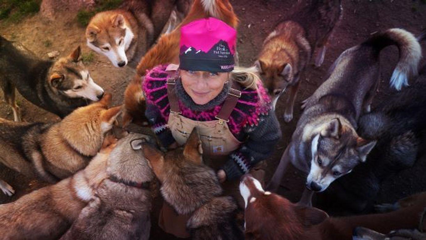 Musherka Jana Henychová uprostřed je obklopena svými psy husky.